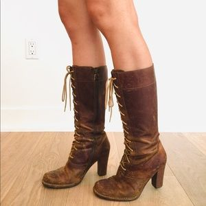 Frye Villager Lace Up Zipper Boots (Calf-hugging)